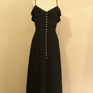 Forever 21 Black Button Ruffle Maxi Dress